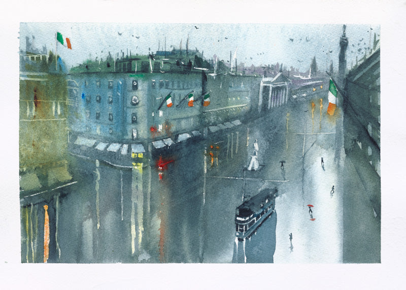 Framed Fine Art Print of O'Connell Street, Dublin, Ireland, by Irish Artist Cathal O'Briain. Free P&P with Padded Protection within Ireland.