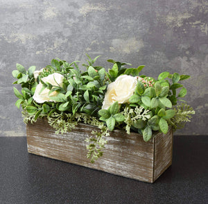 'Kimberley' Flower Box with Artificial Roses and Leaves