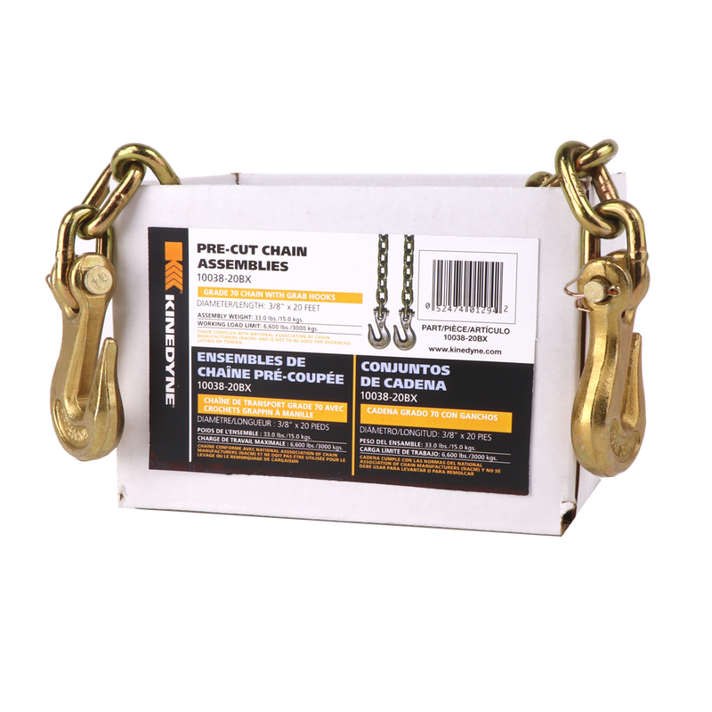 "Kinedyne 3/8"" by 20' Grade 70 Grab Hook Chain Assembly - 1 Per Box"