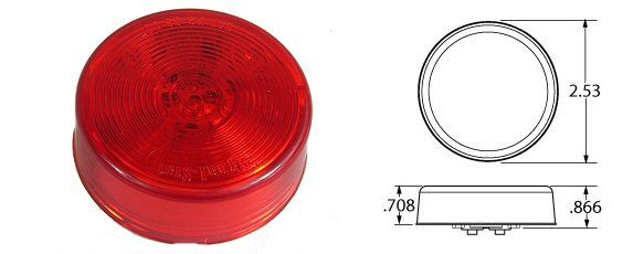 "TRUCK-LITE 2-1/2"" Round LED Marker Light, Red"
