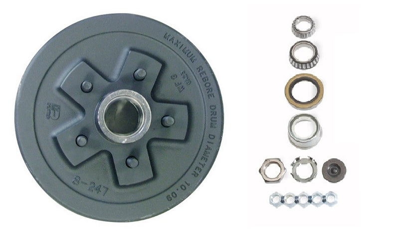 "Dexter 7650030-03B HUB & DRUM KIT 3.5K - FULL GREASED - 5 on 4.5"" bolt pattern. Uses L68149 Inner and L44649 Outer Bearings"