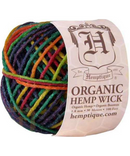 Hemptique Organic Hemp Wick 100ft - Rainbow