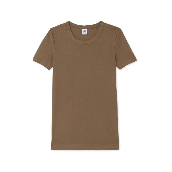 KHAKI ROUND NECK COTTON T-SHIRT