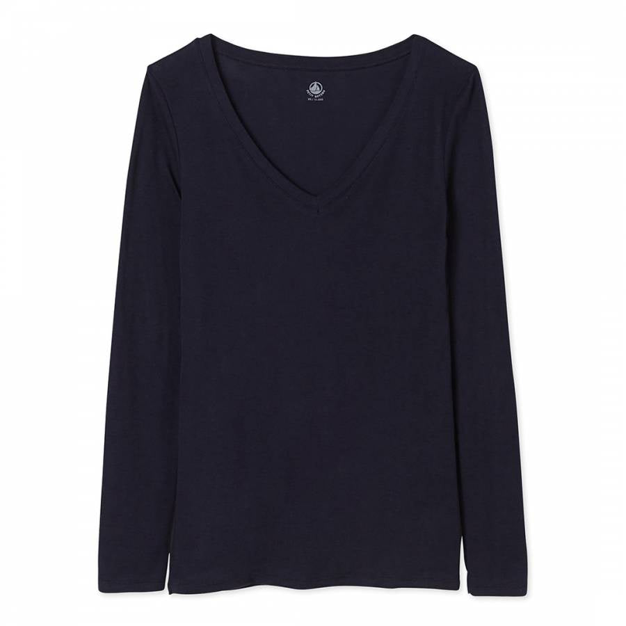 LONG SLEEVE VNECK TSHIRT NAVY