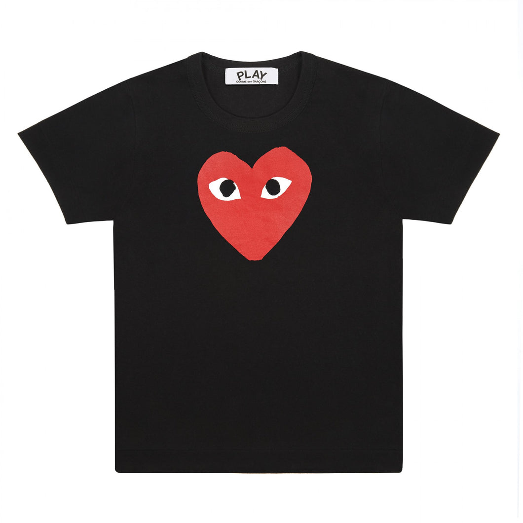 BLACK T-SHIRT WITH RED PRINTED HEART