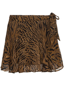 MINI SKIRT PRINTED GEORGETTE TIGER