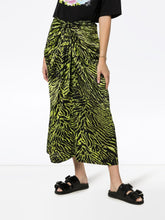 Load image into Gallery viewer, skirt silk stretch satin lime tiger