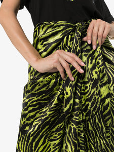 skirt silk stretch satin lime tiger