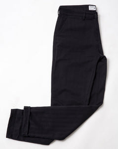COTTON HERRINGBONE STRAIGHT LEG BLACK TROUSER