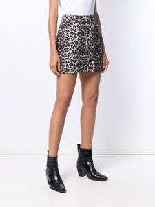 SKIRT PRINT DENIM LEOPARD