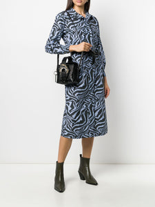 SHIRT DRESS PRINTED COTTON POPLIN FOREVER BLUE