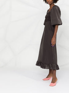 MAXI DRESS SEERSUCKER CHECK BLACK