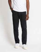 Load image into Gallery viewer, COTTON HERRINGBONE STRAIGHT LEG BLACK TROUSER