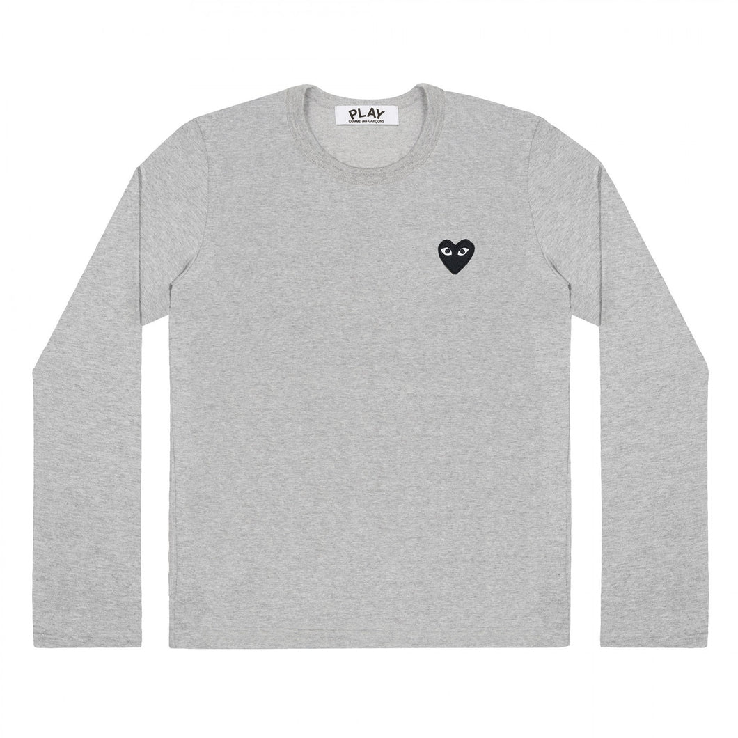 GREY LONGSLEEVE T-SHIRT BLACK EMBROIDERED HEART
