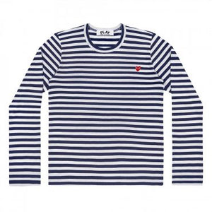 LONG SLEEVE STRIPED T-SHIRT WITH MINI EMBROIDERED RED HEART
