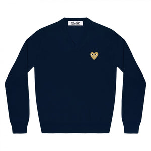 NAVY V-NECK SWEATER WITH GOLD EMBROIDERED HEART