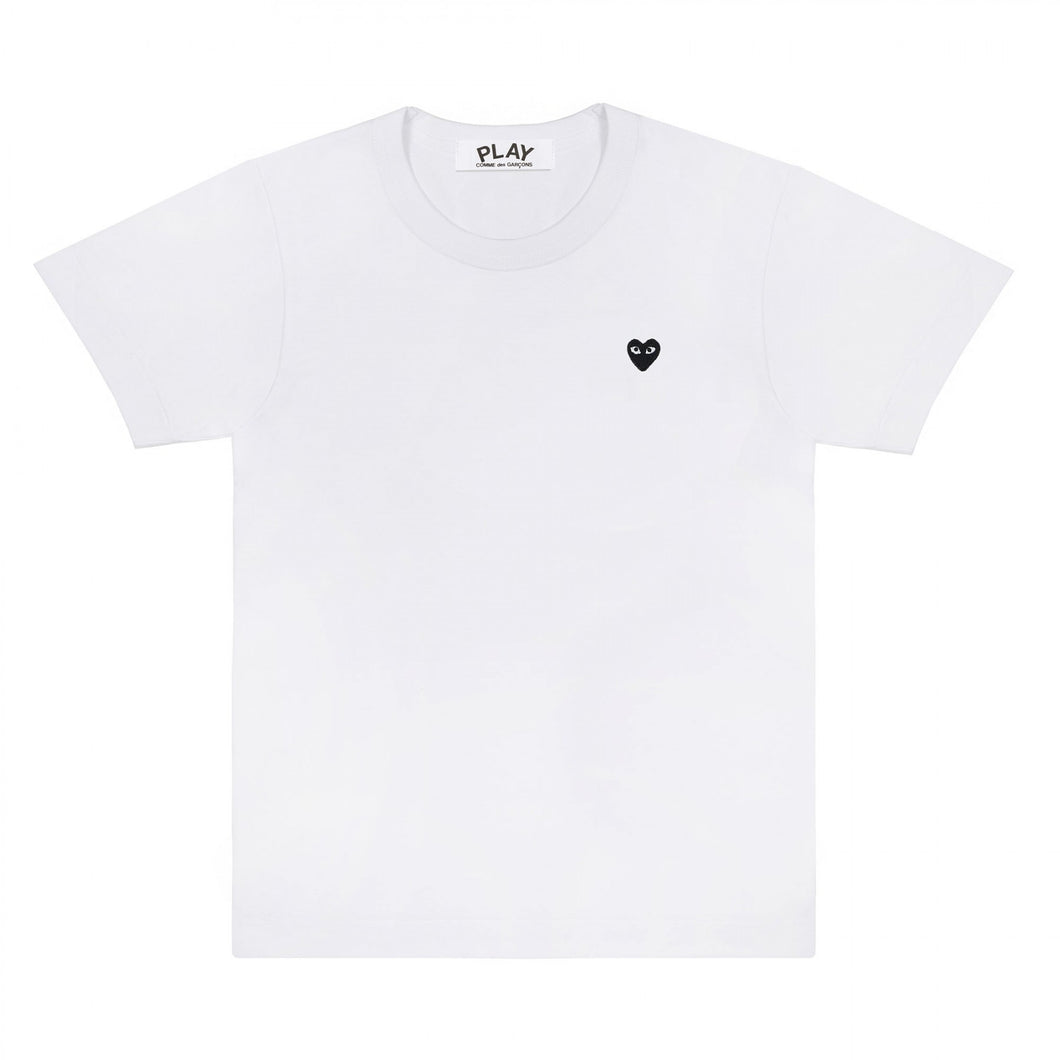 WHITE T-SHIRT MINI BLACK EMBROIDERED HEART