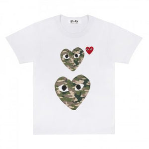 CAMOUFLAGE DOUBLE HEART LOGO T-SHIRT
