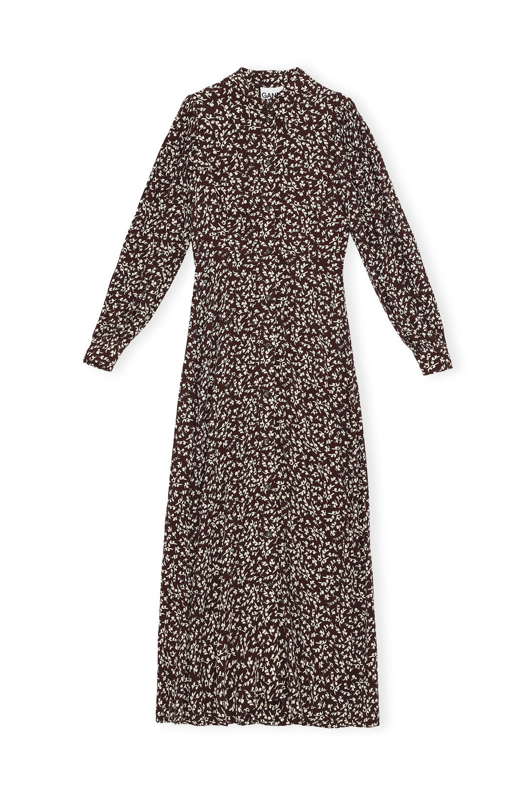 MAXI DRESS PRINTED CREPE CHOCOLATE