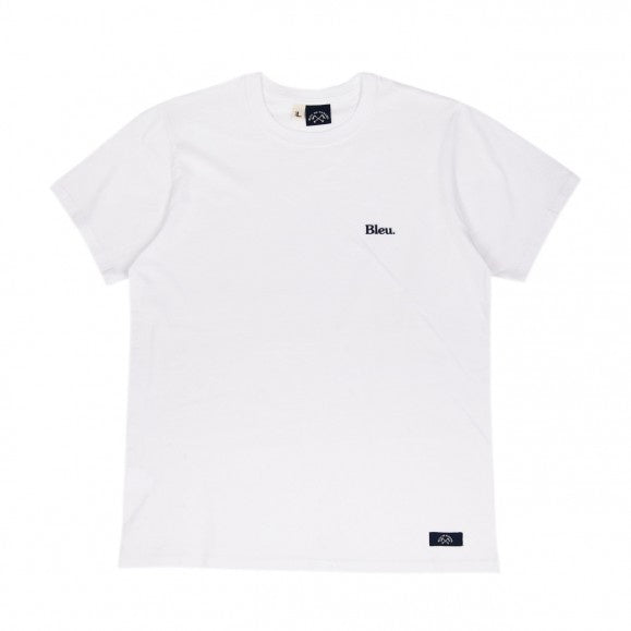 TEE-SHIRT BADGE BLEU WHITE