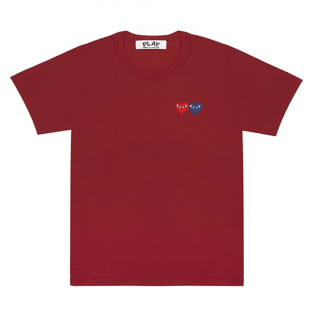 BURGUNDY T-SHIRT WITH DOUBLE HEART