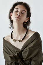 Load image into Gallery viewer, FLEXIBLE ROPE NECKLACE WITH BRASS KNOT DETAIL