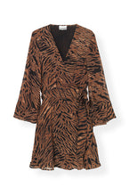 Load image into Gallery viewer, MINI WRAP DRESS PRINTED GEORGETTE TIGER
