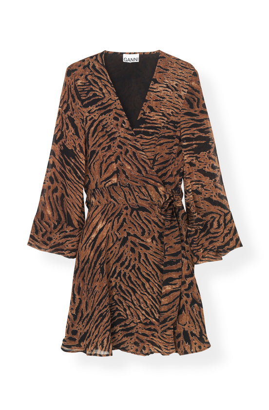 MINI WRAP DRESS PRINTED GEORGETTE TIGER