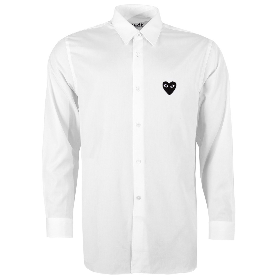 WHITE SHIRT WITH EMBROIDERED BLACK HEART