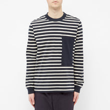 Load image into Gallery viewer, STRIPED MARINIERE BLUE/OFFWHITE