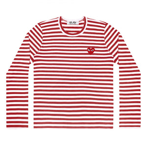 RED STRIPE LONGSLEEVE T-SHIRT RED EMBROIDERED HEART