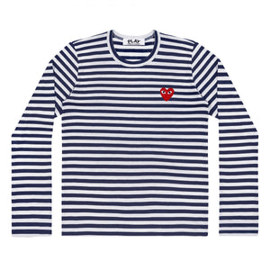 NAVY STRIPE LONG SLEEVE T-SHIRT RED EMBROIDERED HEART