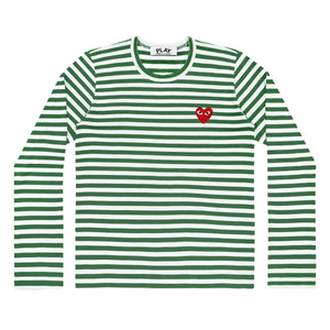 GREEN STRIPE LONGSLEEVE T-SHIRT RED EMBROIDERED HEART