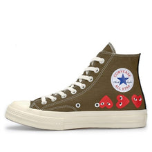 Load image into Gallery viewer, KHAKI HIGH TOP MULTI HEART CONVERSE