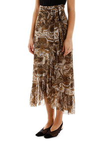 WRAP SKIRT PRINTED MESH TIGER'S EYE