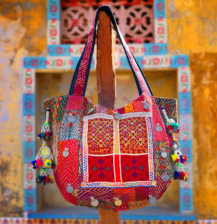 Kantha Balloon Tote Bag with antique paise coins