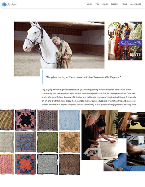 Tabs View interview with Parekh Bugbee's sustainable artisan handmade silk scarves for men and women