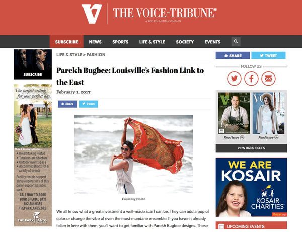 Voice Tribune interview with Parekh Bugbee for their ethical and sustainable handmade silk scarves for women and men