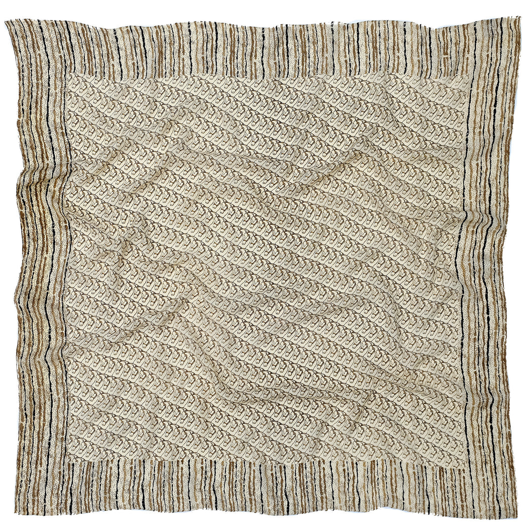 Silkhorse Women's Crepe Silk Scarf 1 beige and gold by Parekh Bugbee