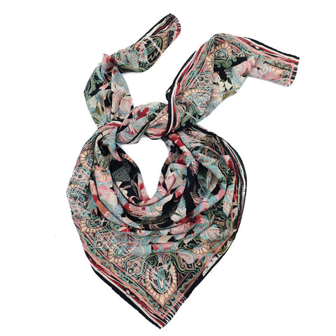 Ista :: Hand printed crepe silk women's paisley floral print scarf - Parekh Bugbee