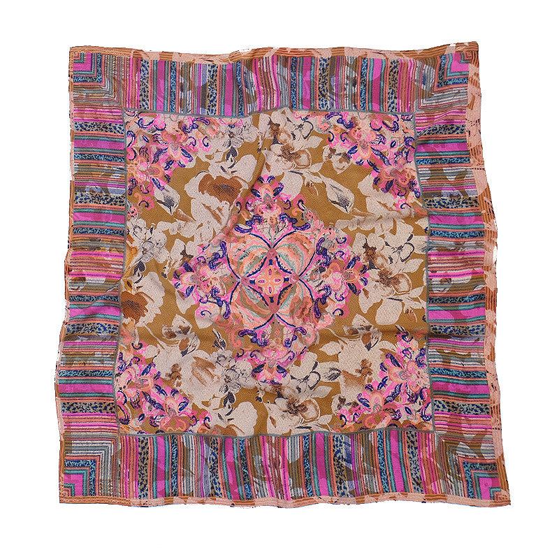 Ista :: Hand printed crepe silk women's paisley print scarf - Parekh Bugbee