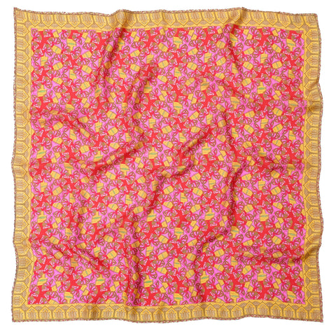 Silkhorse Women's Twill Silk Scarf 1 pink and gold yellow by Parekh Bugbee