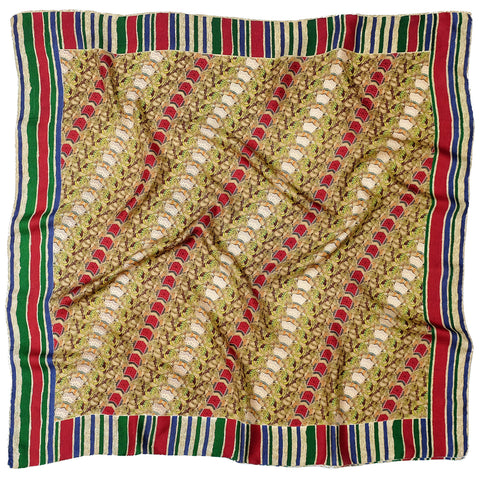 Silkhorse Women's Twill Silk Scarf 3 gold and red by Parekh Bugbee
