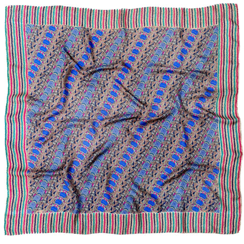 Silkhorse Women's Twill Silk Scarf 4 blue multi color by Parekh Bugbee