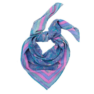 Ista :: Hand printed crepe silk women's floral paisley print scarf - Parekh Bugbee