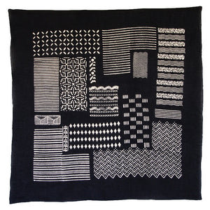 Bandhan :: Hand block printed geometric block design unisex cotton scarf - Parekh Bugbee