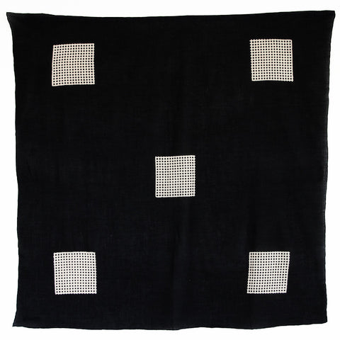 Bandhan :: Hand block printed five square design unisex cotton scarf - Parekh Bugbee