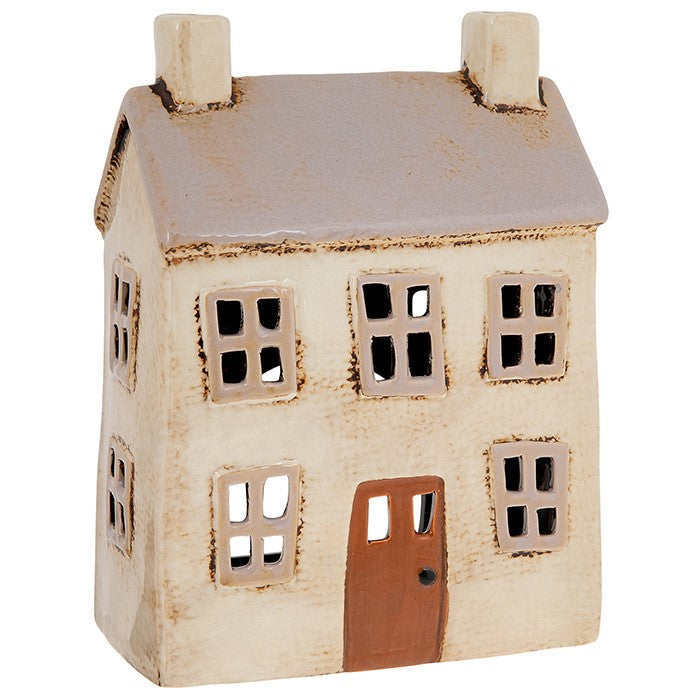 Village Pottery Light Grey House Tealight Holder Large | GORGEOUS GEORGE