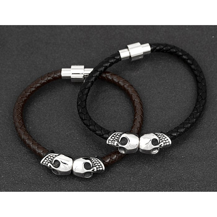 Mens Skull Leather Bracelet | GORGEOUS GEORGE