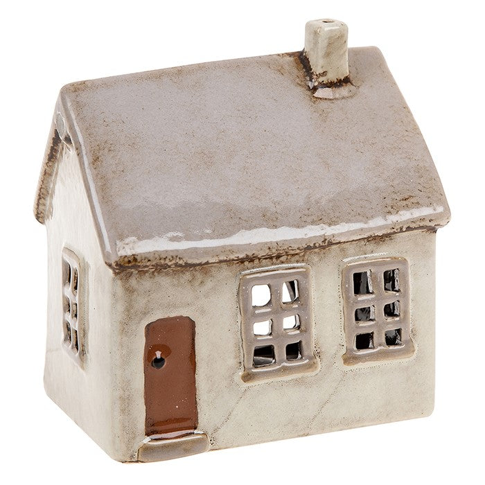 Village Pottery Light Grey House Tealight Holder | GORGEOUS GEORGE